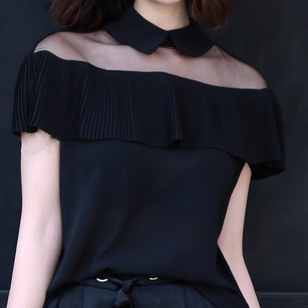 Sheer Collar Chiffon Blouse