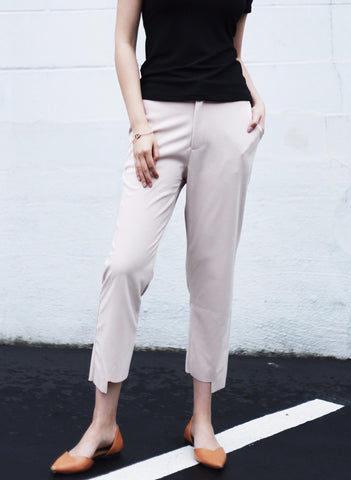 Uneven Hem Trousers with Elastic Waistband