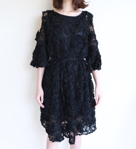 Cold Shoulder Flower Lace Dress