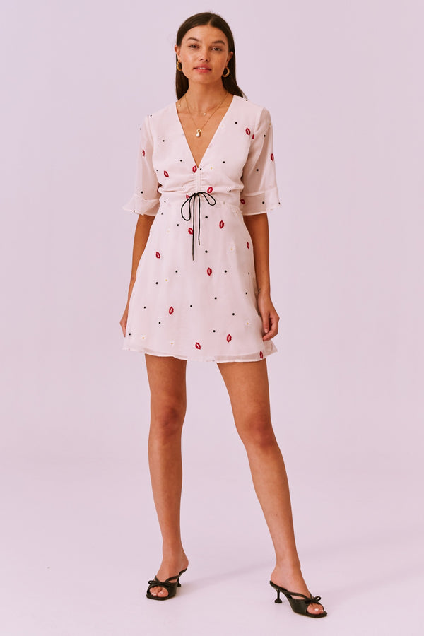 V-neck Chiffon Mini Dress with Lip and Daisy Print