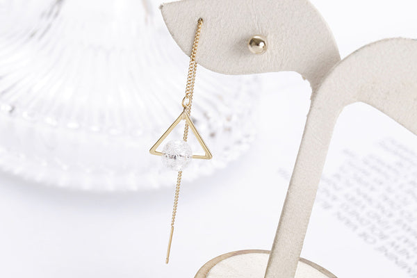 Mismatch Triangle Drop Earring with Gold Stud