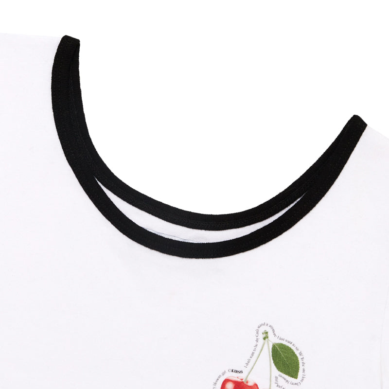 Small Cherry Scoop Neck Fitted Crop Top