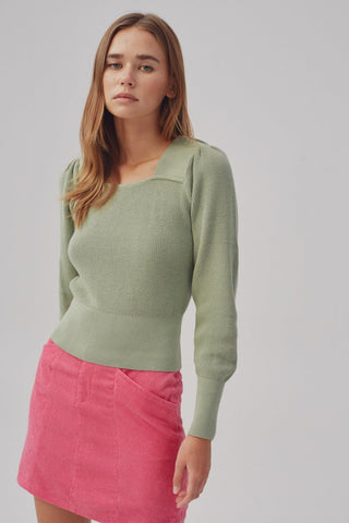 Square Neck Sweater with Puff Sleeves