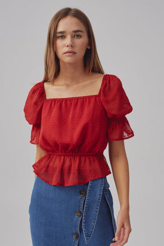 Square Neck Elastic Waist Chiffon Top