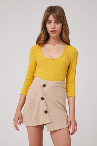 Slanted Buttons Mini Skirt