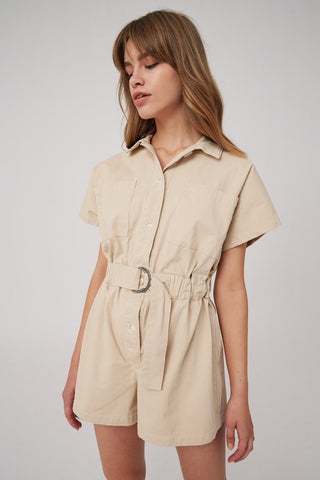 Short Sleeves Shirt Romper with Waist Belt