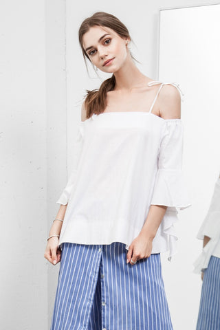 Cold Shoulder Cascade Sleeve Top