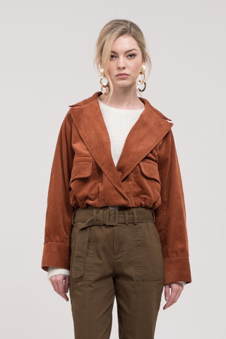 Woven Open Front Cropped Utility Jacket