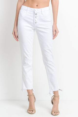 Shark-Bite Hem Button Fly Jeans