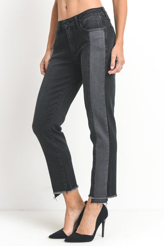 Two Toned Front Seam Jeans