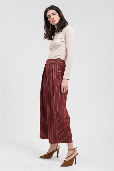 Woven Striped Wide Leg Pants with Side Buttons