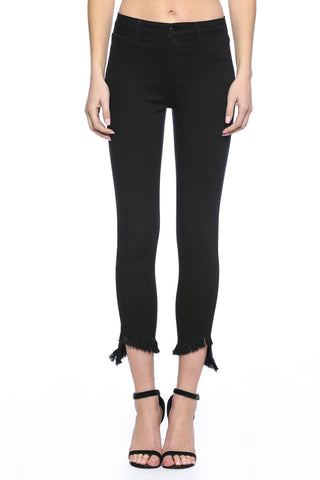 Black Crop Skinny With Fray Hem