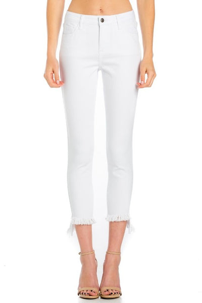 White Fray Hem Crop Skinny