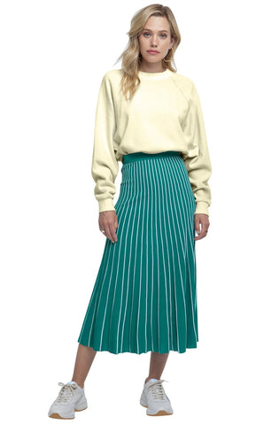 Knit Stripe Pleated Maxi Skirt
