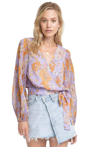 Floral Wrap Around Chiffon Top