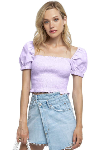 Smocked Crop Top with Puffy Short Sleeves