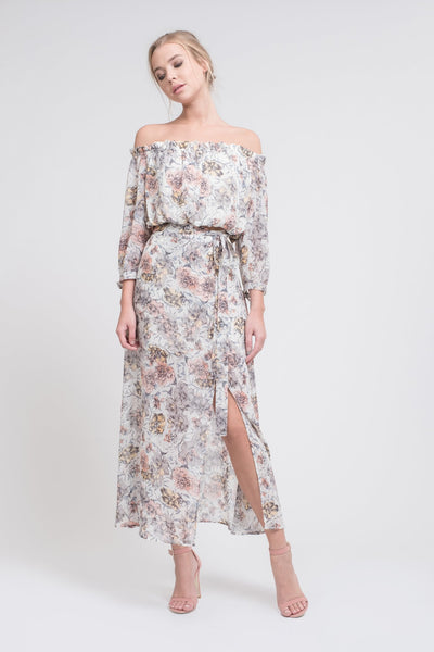 Sheer Floral Maxi Skirt with High Side Slit