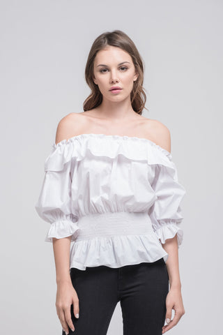 Ruffley Off Shoulder Top with Smocked Waist