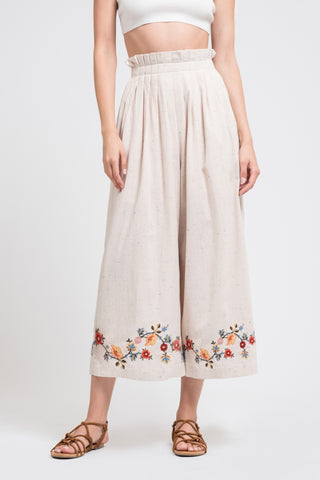 Pleated Wide-Leg Pants with Embroidery