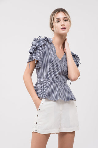 Gingham Lace-Up Sleeve Top