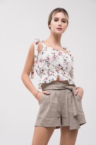 Floral Smocked Waist Tie Shoulder Top