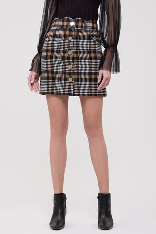 Checker Skirt with Scallop Waist