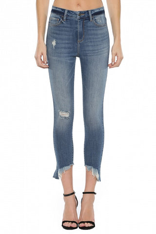 High Rise Slanted Cut Hem Crop Skinny Jeans