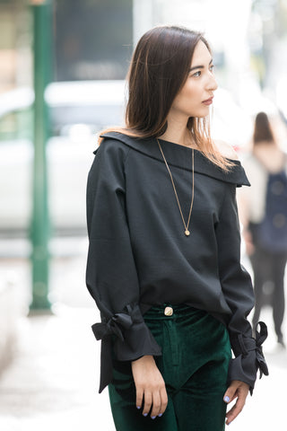 Drop Shoulder Chiffon Shirt with Flare Sleeves