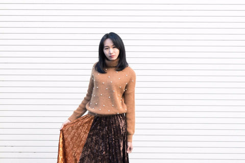 High Neck Pearl Sweater
