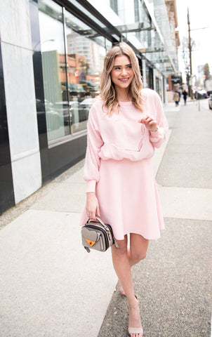 Flare Dress with Puffy Sleeves