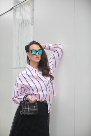 Oversized Stripe Shirt with Front Pocket