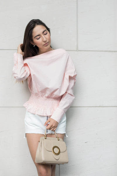 Drop Shoulder Shirt with Smocked Waist