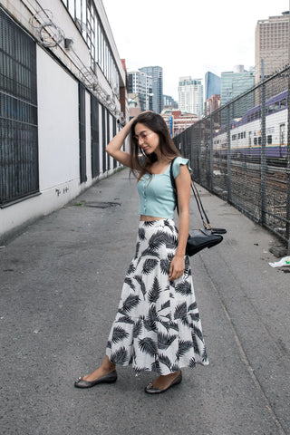 Tropical Print Flare Maxi Skirt