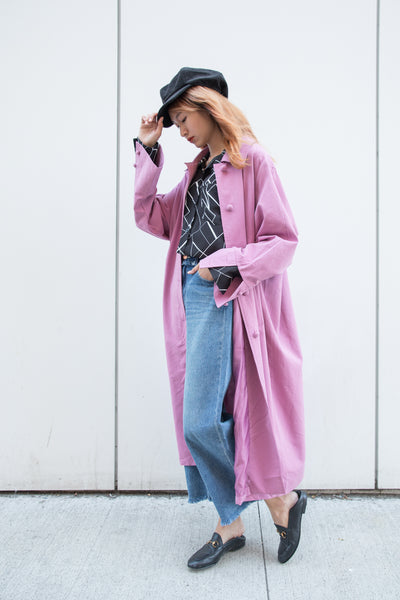 Single Button Up Oversized Trench Coat