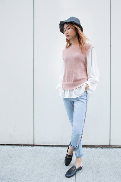 Oversized Sweater with Chiffon Sleeves