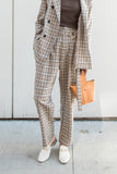 High-waisted Checker Straight Leg Pants