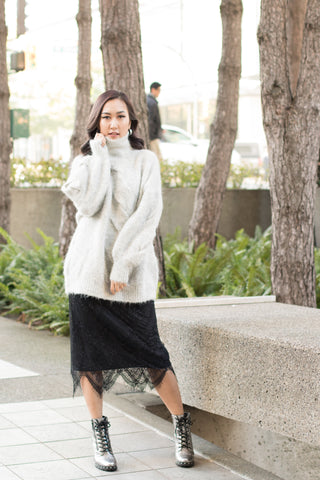 Two-sided Lace Knit Midi Skirt