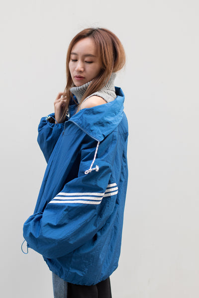 Pullover Windbreaker with Knit Turtleneck