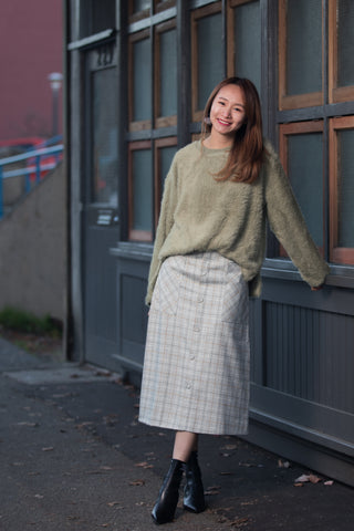 Checker Midi Skirt With Buttons