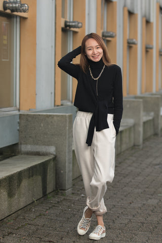 High Neck Fitted Sweater with Front Tie
