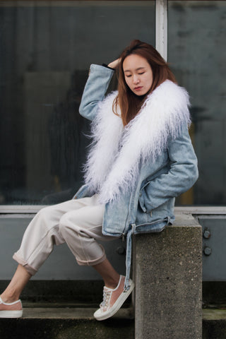 Oversized Denim Jacket with Fur Lapel