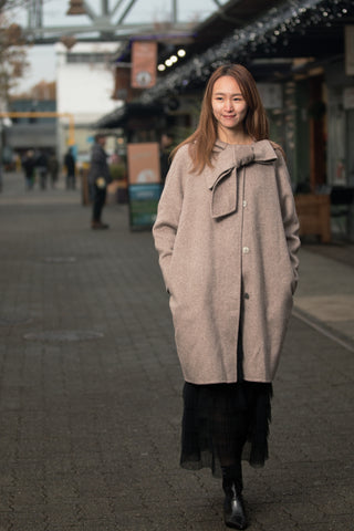 Oversized Cashmere Coat with Tied Collar