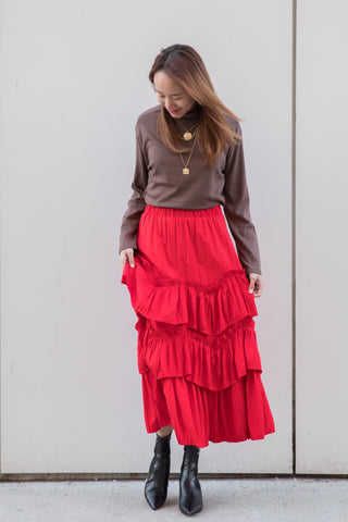 Layered Pleated Maxi Skirt