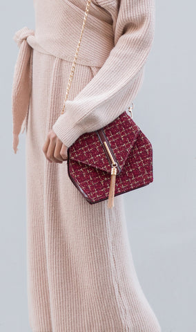 Hexagon Tweed Purse