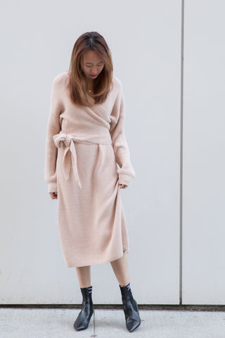 V-neck Wrap Around Knit Dress