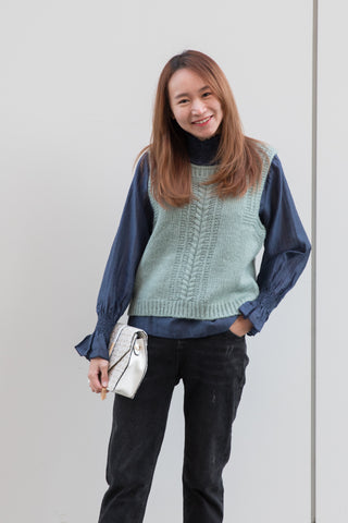 Square Neck Knit Vest