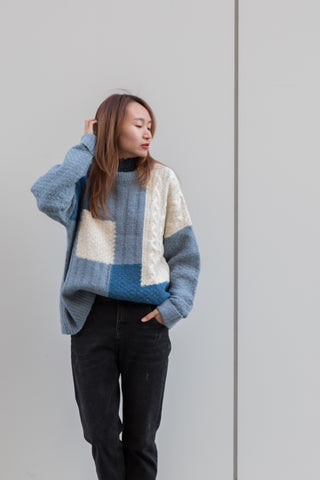 Oversized Crewneck Color Block Sweater