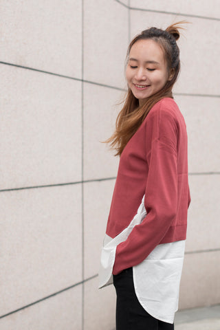 Thin Knit Sweater with Shirt Bottom