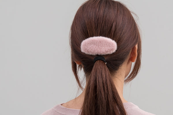 Oval Shape Fur Hair Clip