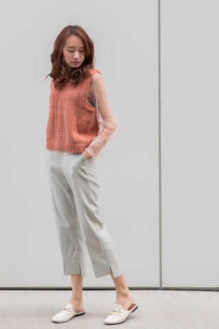 High-waisted Straight Leg Pants with Uneven Hems